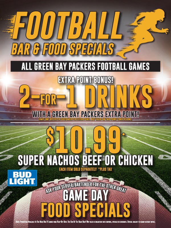 Packer and Badgers Bar Specials